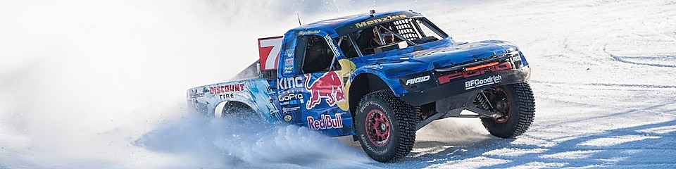 Red Bull truck in the snow.