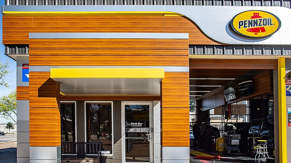exterior view of a Pennzoil-brand automotive shop.