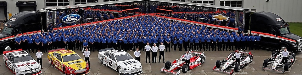 Team Penske with their cars.