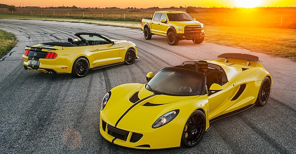 Three Hennessey vehicles